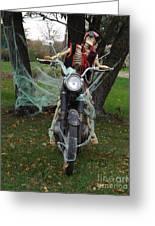 Skeleton Biker On Motorcycle  Greeting Card