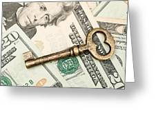 Skeleton Key On Cash. Greeting Card
