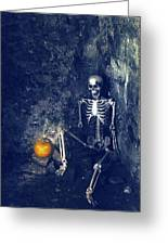 Skeleton With Jack O Lantern Greeting Card
