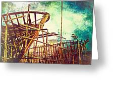 Skeletons In The Yard - Boatbuilding In Ecuador Greeting Card