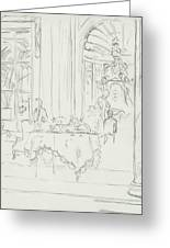 Sketch Of A Formal Dining Room Greeting Card