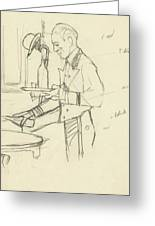 Sketch Of Waiter Pouring Wine Greeting Card