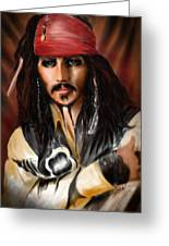 Sketching A Pirate... Greeting Card by Alessandro Della Pietra