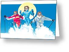 Ski Fun Art Greeting Card