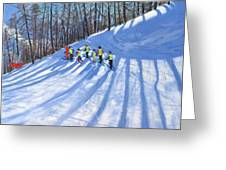 Ski Lesson Greeting Card by Andrew Macara