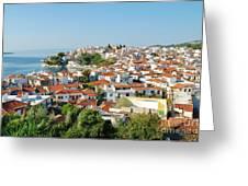 Skiathos Harbour In Greece Greeting Card