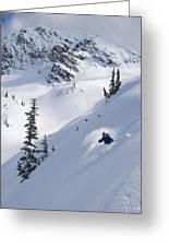 Skier Hitting Powder Below Nak Peak Greeting Card