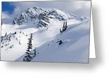 Skier Shredding Powder Below Nak Peak Greeting Card