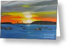 Skies Over The City Greeting Card by Barbara Hayes