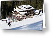 Skihaus Schifer Skier Davos Parsenn Klosters Greeting Card
