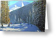 Skiing  Beauregard La Clusaz Greeting Card