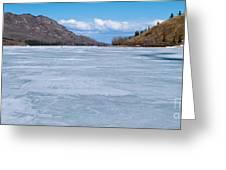 Skiing On Frozen Lake Laberge Yukon Canada Greeting Card