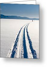 Skiing Person On Frozen Lake Greeting Card