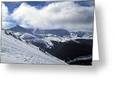 Skiing With A View Greeting Card by Fiona Kennard