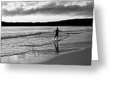 Skimboarder Sunser #1 - Black And White Greeting Card