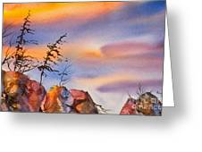 Skinny Trees Windy Day Greeting Card