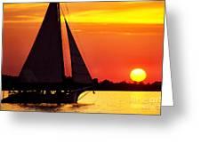 Skipjack At Sunset Greeting Card