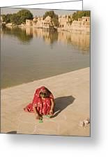 Skn 1696 Rangoli At Gadisar Greeting Card