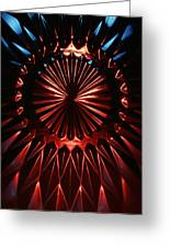 Skc 0285 Cut Glass Plate In Red And Blue Greeting Card