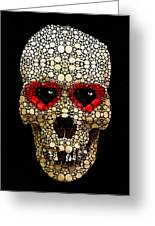 Skull Art - Day Of The Dead 3 Stone Rock'd Greeting Card