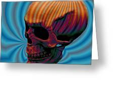 Skull Aura Orange Greeting Card by Jason Saunders