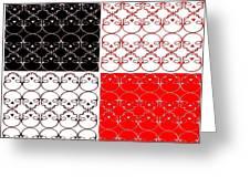 Skull Black Red White Pattern Background Greeting Card