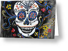 Skull Flowers Greeting Card