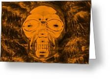 Skull In Negative Orange Greeting Card