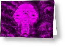 Skull In Negative Purple Greeting Card