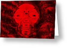 Skull In Negative Red Greeting Card