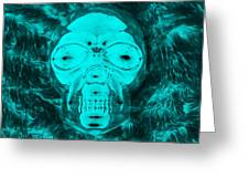 Skull In Negative Turquois Greeting Card