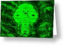 Skull In Radioactive Negative Green Greeting Card