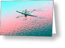 Skulling Boat At Sunset Greeting Card