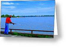 Sky Blue Calm Waters Fisherman On The Pier  Lachine Canal Montreal Summer Scenes Carole Spandau Greeting Card