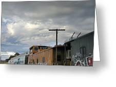 Sky Clouds And Graffiti Old Santa Fe Railyard Greeting Card