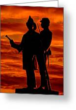 Sky Fire - 73rd Ny Infantry Fourth Excelsior Second Fire Zouaves-b1 Sunrise Autumn Gettysburg Greeting Card
