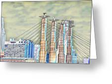 Sky Stations Pylon Caps - Downtown Kansas City Missouri Greeting Card