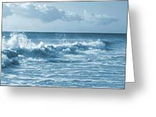 Sky -waves -water- Clouds  In Blue Greeting Card