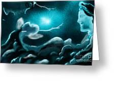 Sky With Romantic Rainy Cloud Greeting Card