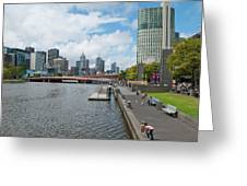 Skyline Along Yarra River In Melbourne Greeting Card