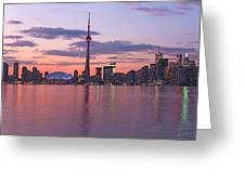 Skyline At Dusk From Centre Island Greeting Card