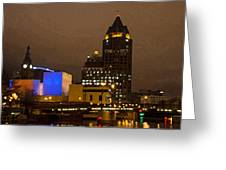 Skyline At The Milwaukee River Greeting Card