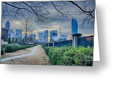 Skyline Of A Big City In South - Charlotte Nc Greeting Card