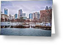 Skyline Of Uptown Charlotte North Carolina At Night Greeting Card