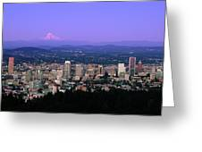 Skylines In A City With Mt Hood Greeting Card