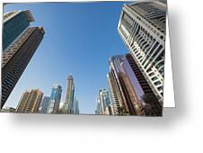 Skyscrapers Along Sheikh Zayed Road Greeting Card