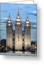 Slc Temple Blue Greeting Card by La Rae  Roberts