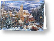 Sledding To Town Greeting Card