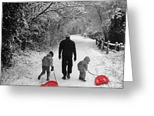Sledding With Dad Greeting Card