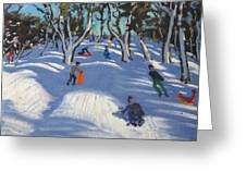 Sledging At Ladmanlow Greeting Card by Andrew Macara